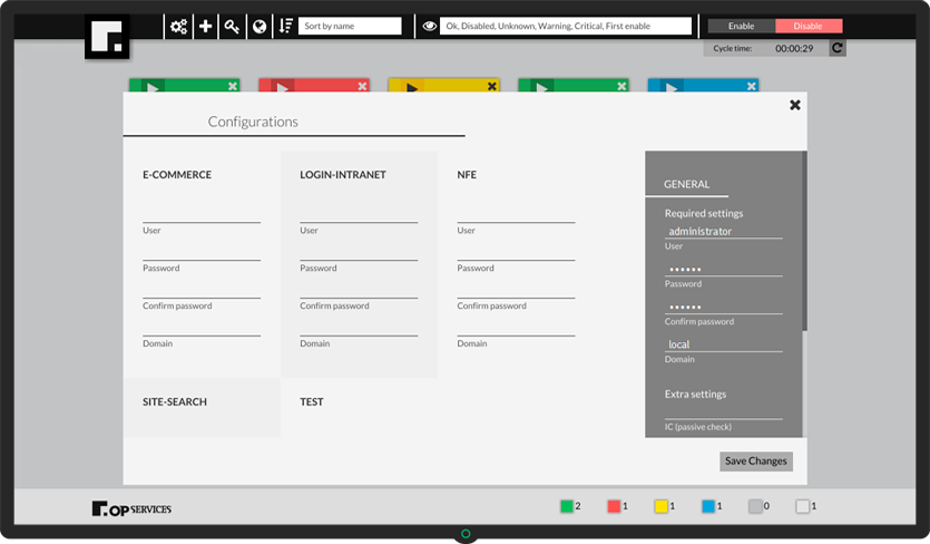 Printscreen OpCEM - Simulação da experiência do usuário